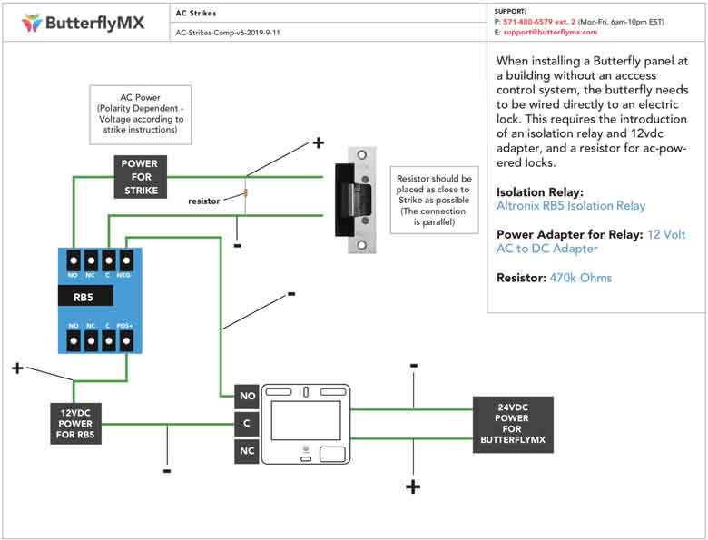wiring diagram for ac adapter installer documentation butterflymx  installer documentation butterflymx