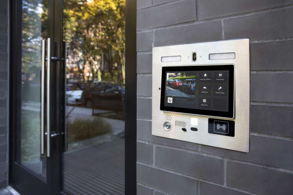 Commercial access control system installed at front door
