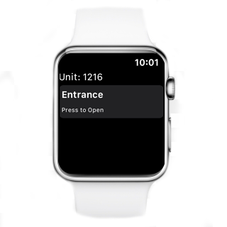 Press to open the door with an Apple Watch