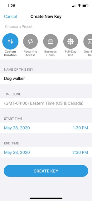 Name the virtual key in the ButterflyMX mobile app
