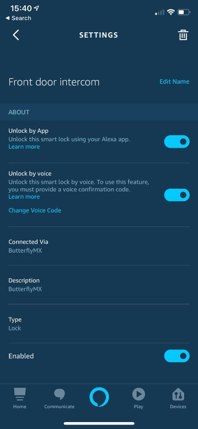 Connect Alexa settings screen