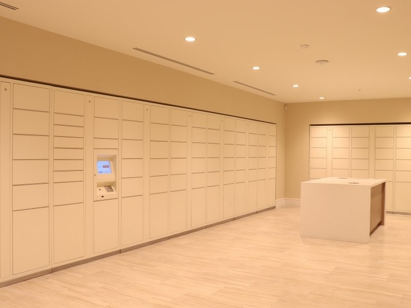 large package lockers in building
