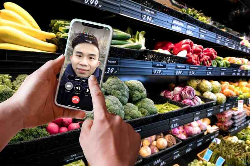 mobile access control to unlock door on smartphone from grocery store
