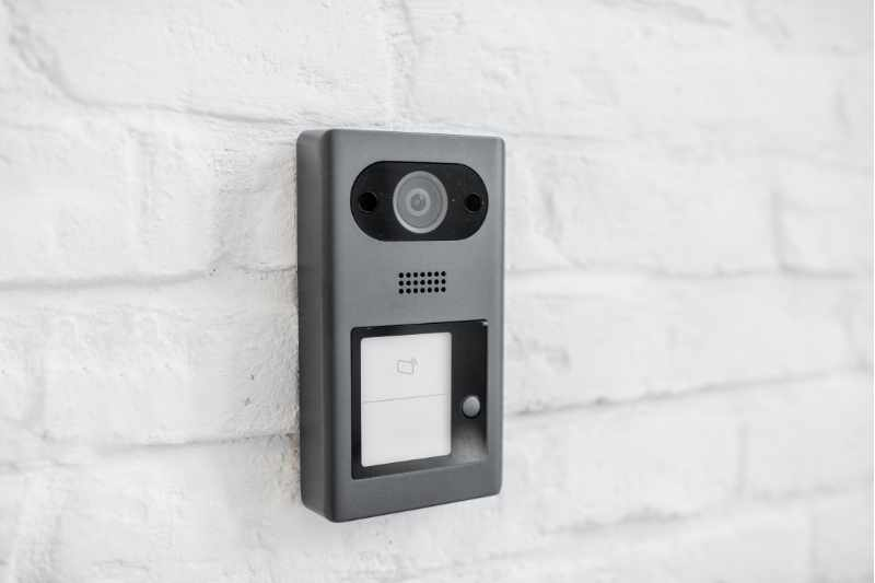wireless door buzzer system with camera installed on wall